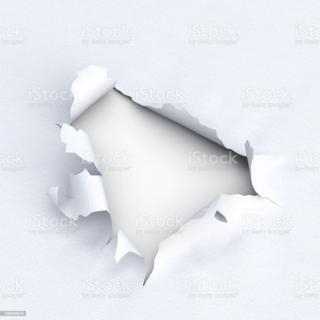 Hole in paper on white background. 3d illustration. royalty-free stock photo