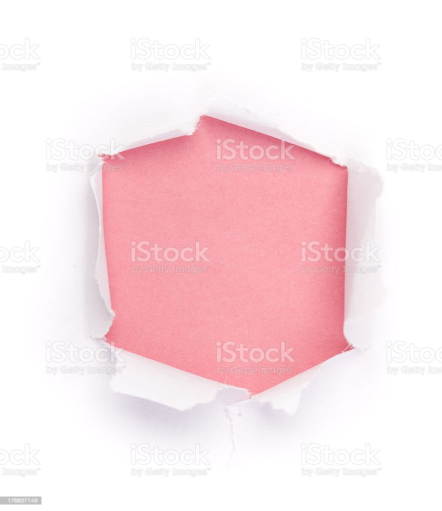 Isolated Hole in paper under the color background