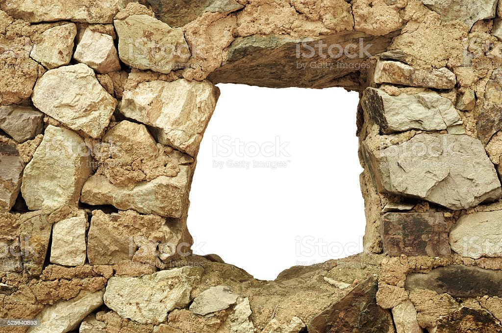 Hole in the brick wall in macro,Isolated on white background,Full...