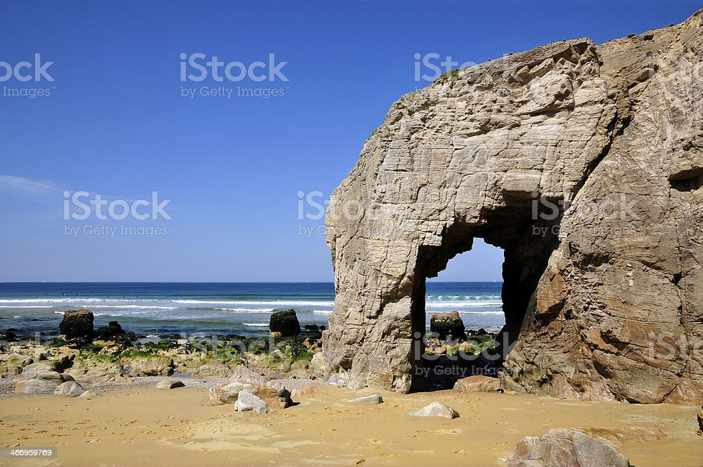 Hole in the cliff at Quiberon stock photo