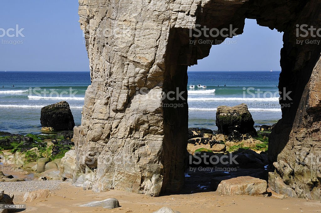 Hole in the cliff at Quiberon royalty-free stock photo
