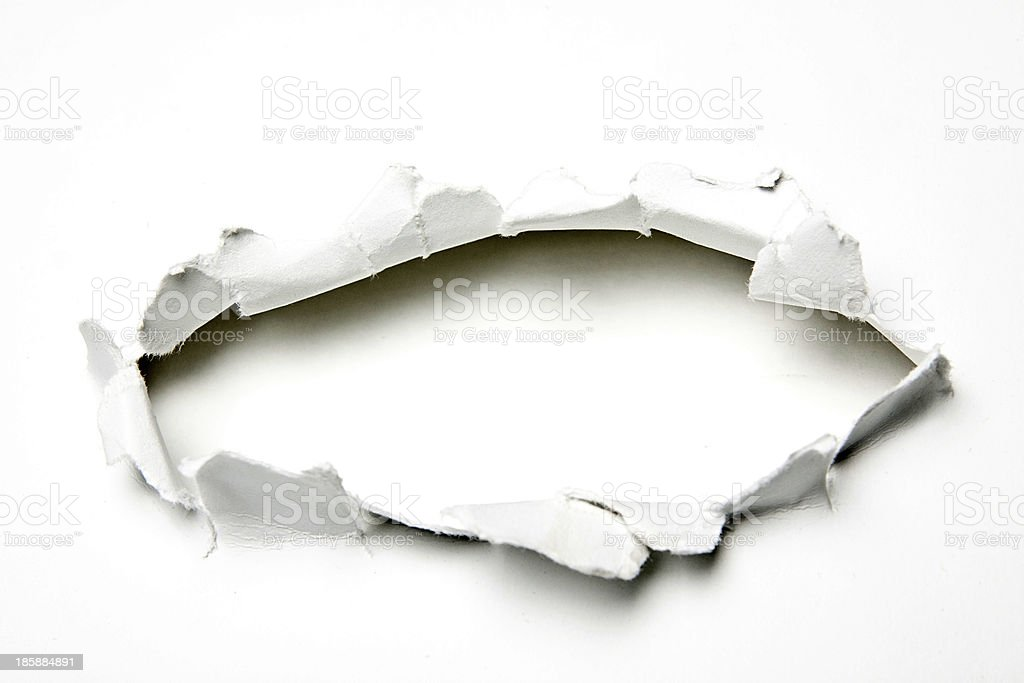 Hole in the paper stock photo