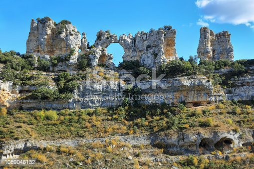 Mountain karstic landscape in Spain. Orbaneja del Castillo. Geology. Horizontal