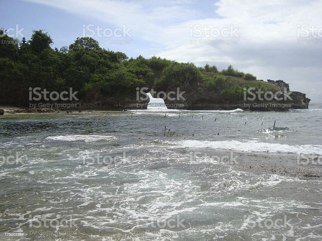 Hole in the rock, Nusa Ceningan island - Indonesia royalty-free stock photo
