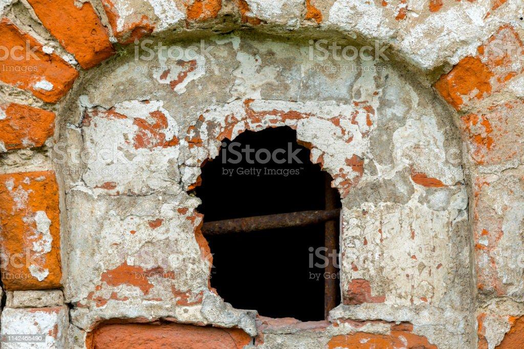 destroyed red brick building