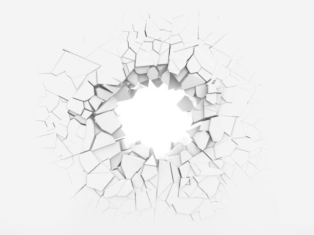 Hole in the wall. Broken white wall with a hole in the center. 3d illustration. collapsing stock pictures, royalty-free photos & images