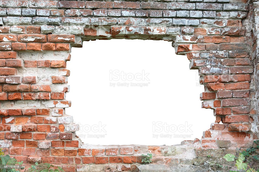 Hole in old brick wall. Hole isolated with clipping path for your...