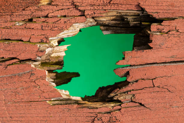 Hole In Wood stock photo