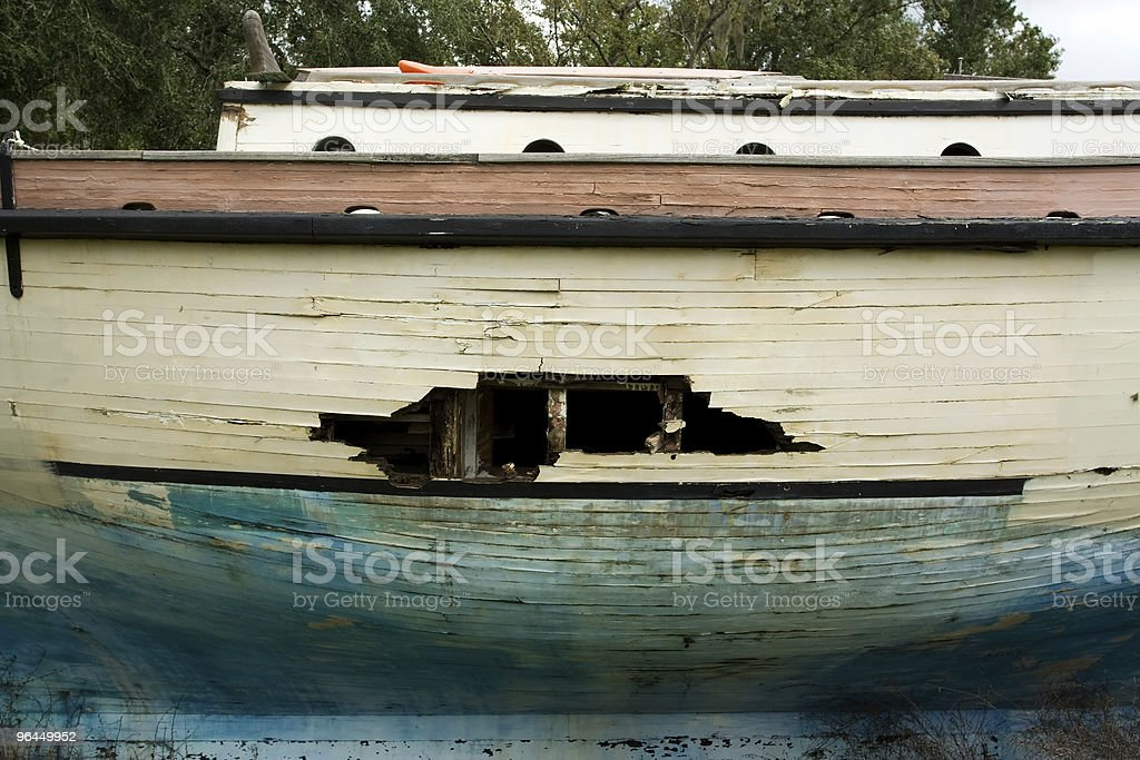 hole in yacht stock photo