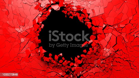 istock Hole on a broken red wall blank space. 3d illustration. 1033270848