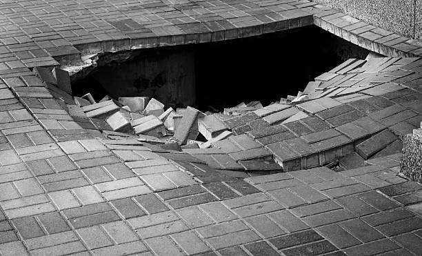 Hole on the street stock photo