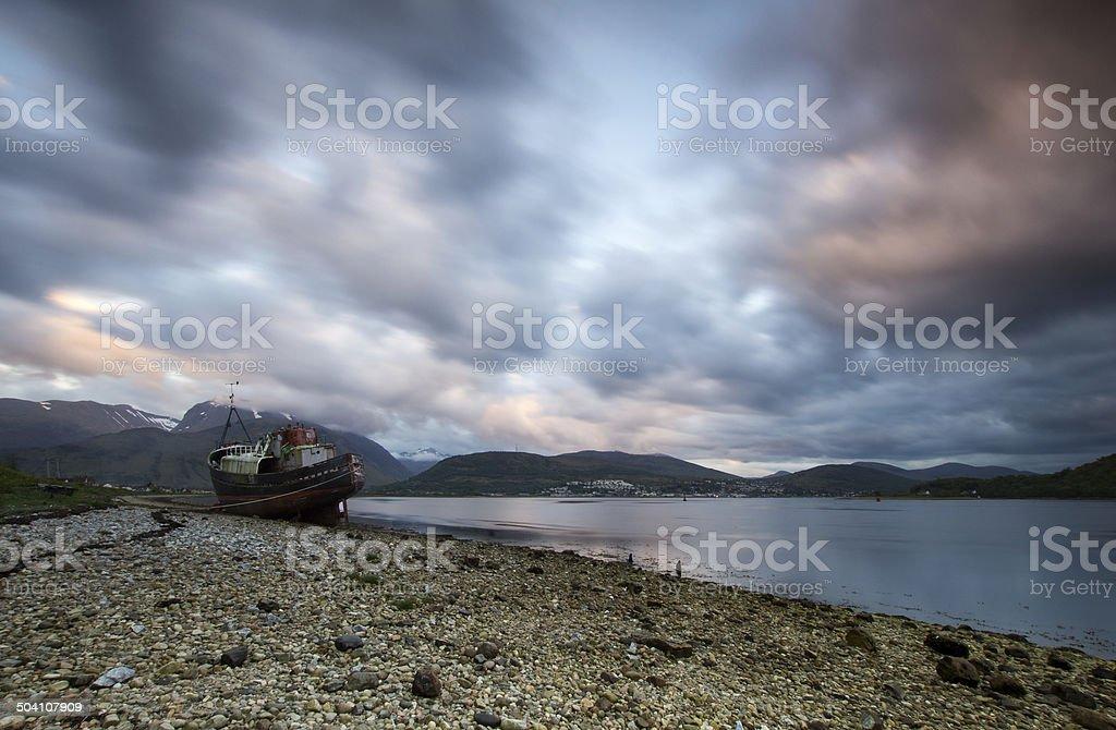Loch Eil wreckship stock photo