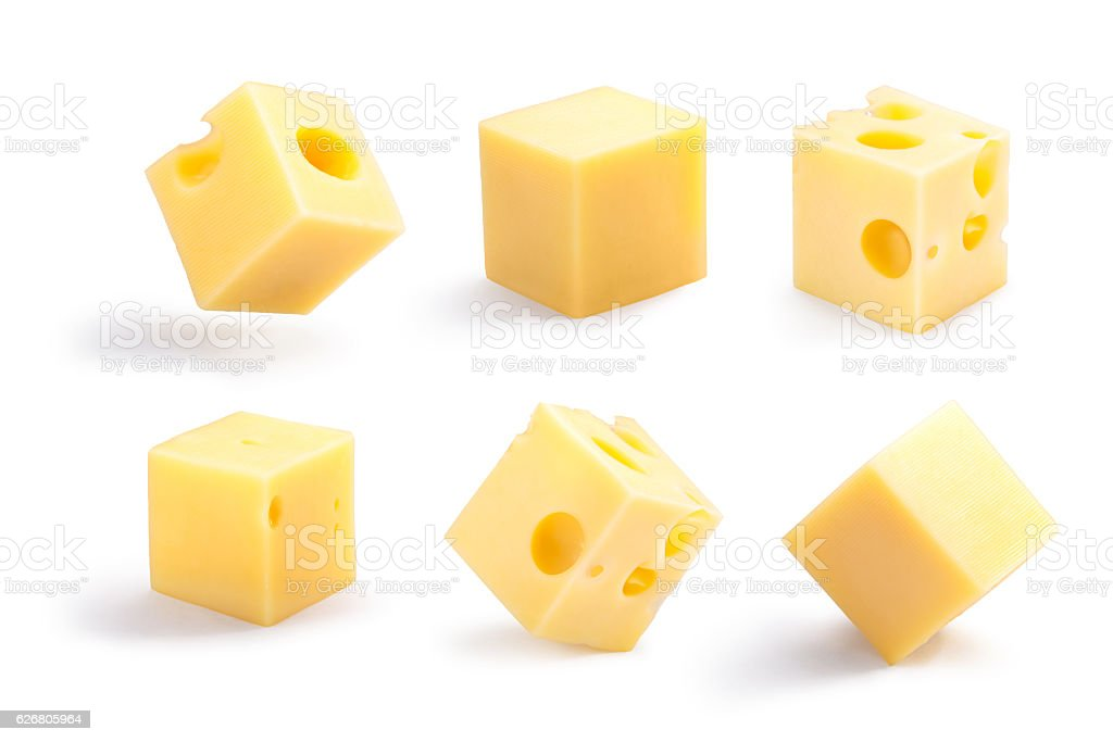 Holey and plain cheese cubes set, paths stock photo