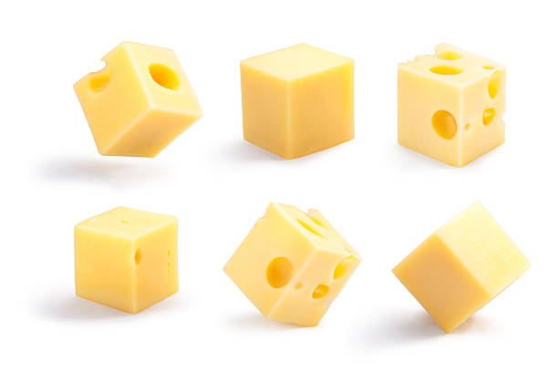 holey and plain cheese cubes set, paths - cube shape stock pictures, royalty-free photos & images