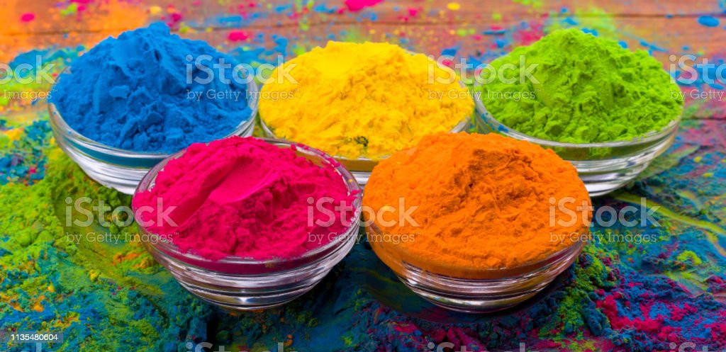 Holi Color Powder Organic Gulal Colours In Bowl For Holi ...