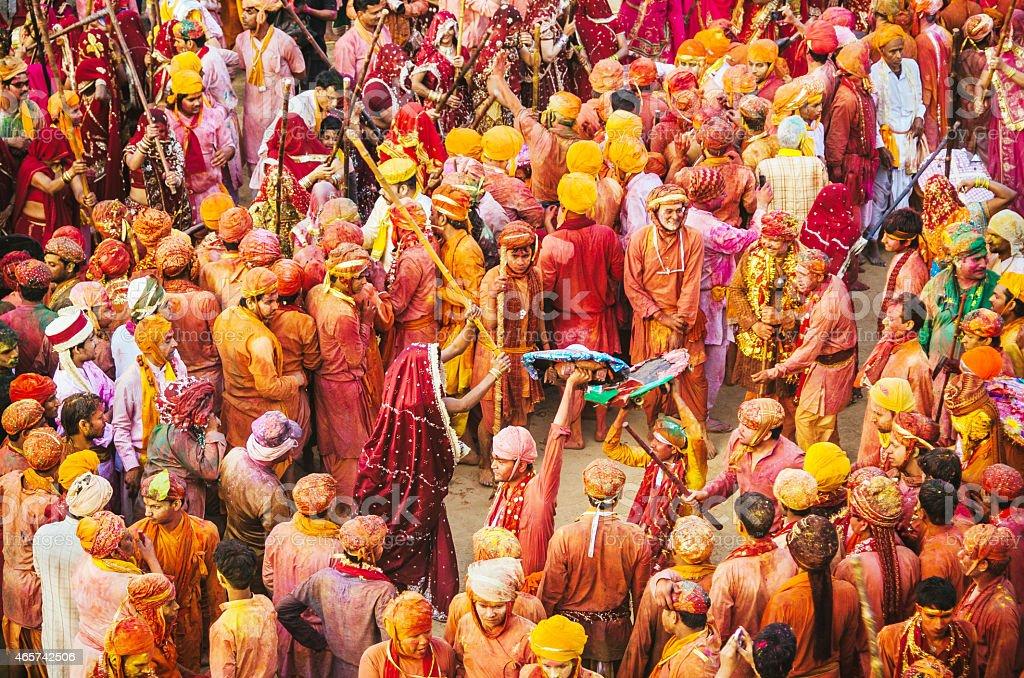 Holi Festival celebration, Barsana, Rajasthan, India stock photo