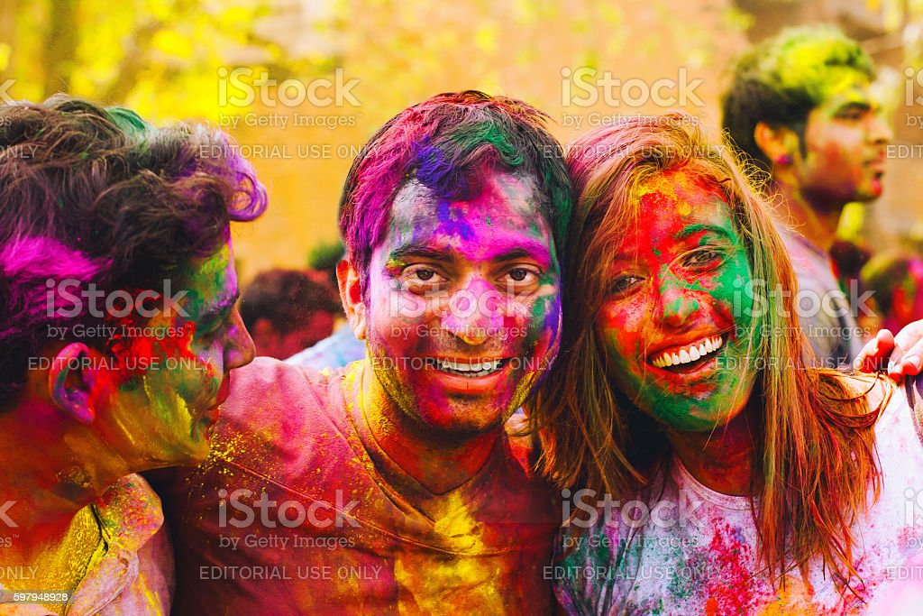 Holi festival celebrations in India stock photo