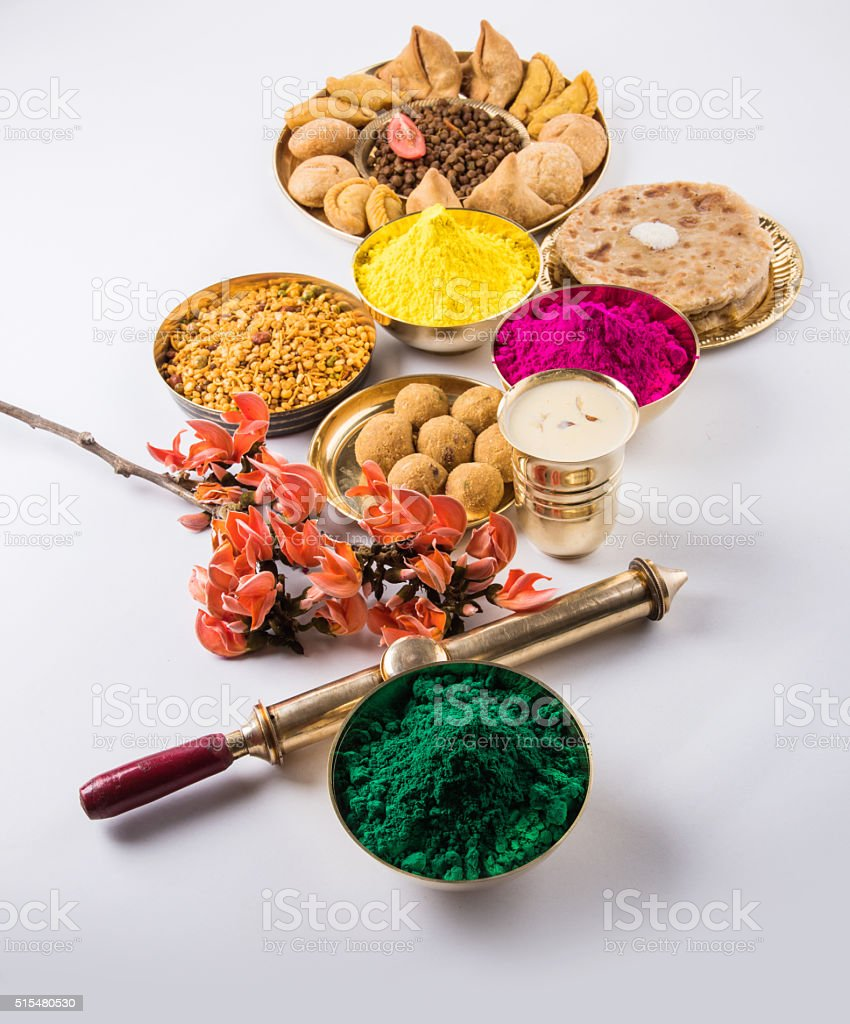 holi festival food with colours, indian festival holi and food stock photo