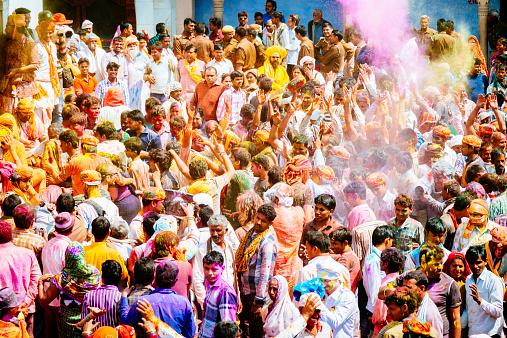 Holi Festival India Crowd Celebrating Stock Photo - Download Image Now