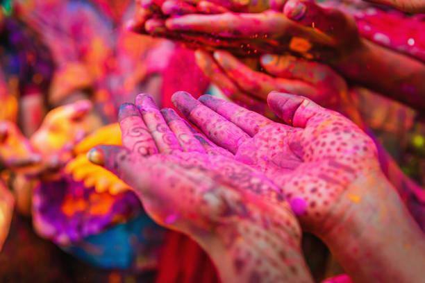 Holi Festival Jaipur India Colorful Hands stock photo