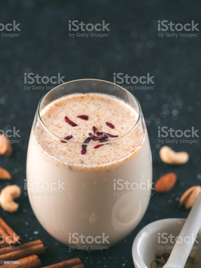 Holi festival Thandai or Sardai cold drink stock photo