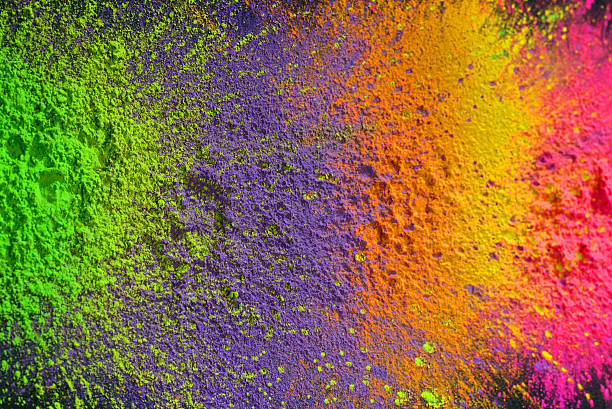 Holi paint Several bright colors of dry holi paint colored powder stock pictures, royalty-free photos & images