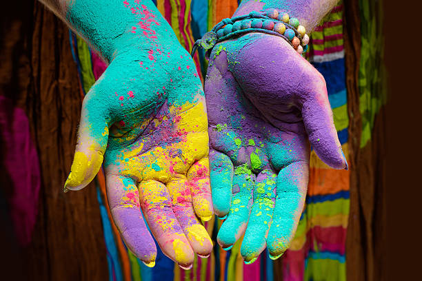 Holi painted hands Colorful holi painted hands in different positions colored powder stock pictures, royalty-free photos & images