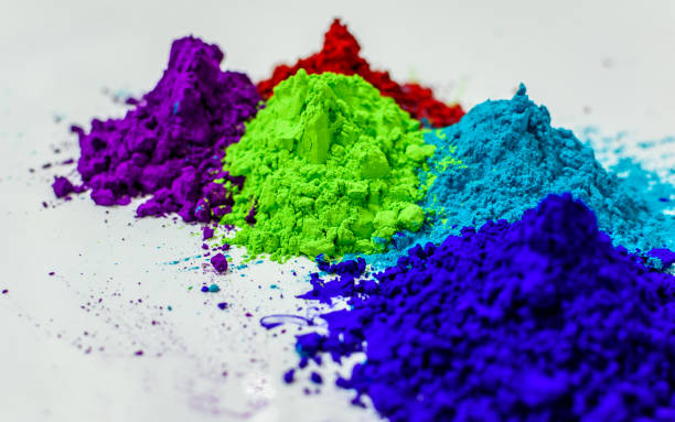 Holi Indian Holi colors with selective focus. colored powder stock pictures, royalty-free photos & images