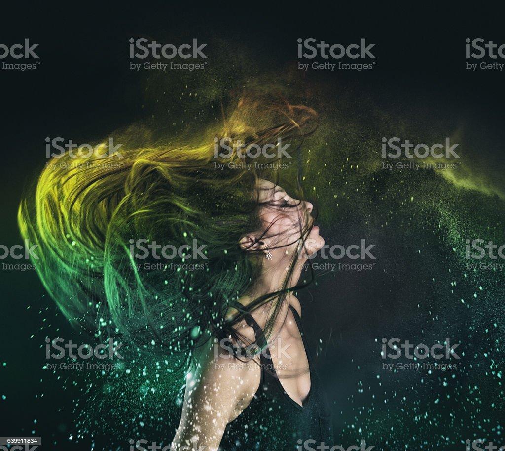 Holi Powder in hair stock photo