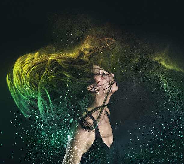 Holi Powder in hair Hold powder in hair colored powder stock pictures, royalty-free photos & images
