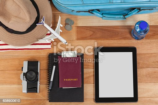 istock Holiday and tourism conceptual image with travel accessories 638900610