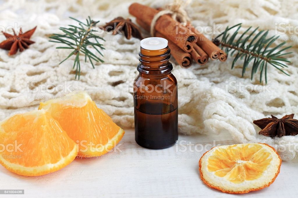 Holiday aromatherapy recipe, mood-lifting energy booster. stock photo