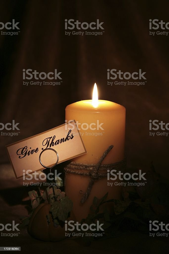 Holiday: Autumn Candle with give thanks note1 royalty-free stock photo