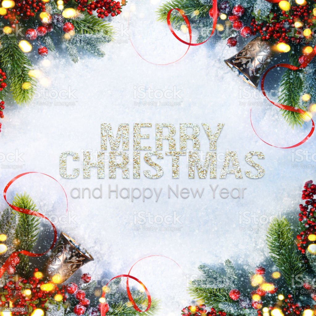 Holiday Background Greeting Card For Christmas And New Year Stock