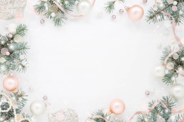holiday background, snowy new year frame - christmas background стоковые фото и изображения