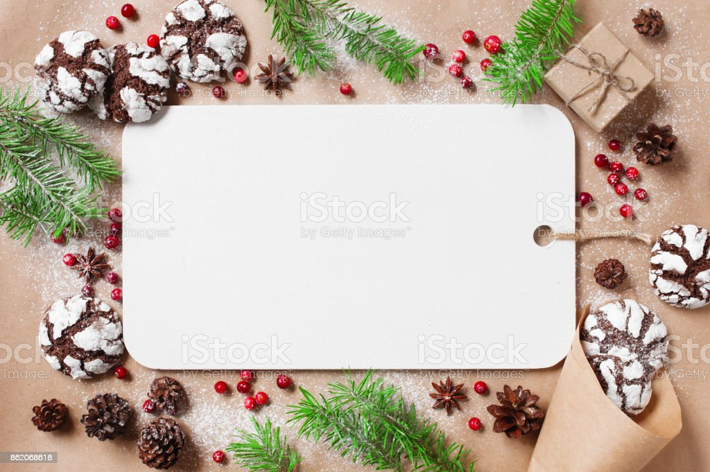 Holiday background with empty board with decoration stock photo