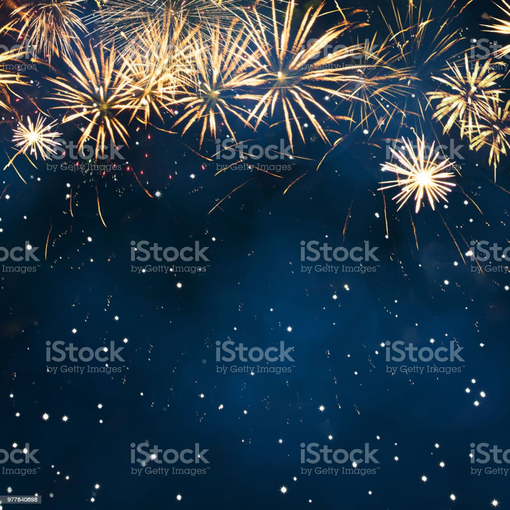 Holiday background with fireworks. Beautiful Blue Holiday background with fireworks. Billboard or Web banner With Copy Space. Template to design Greeting card for holidays: Christmas, New year, anniversary, independence day, Birthday 2019 Stock Photo
