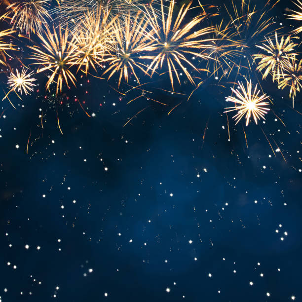 holiday background with fireworks. - firework display stock pictures, royalty-free photos & images