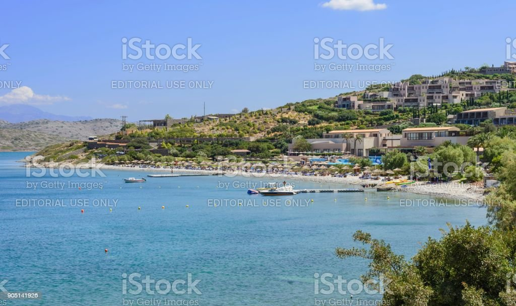 Holiday beach in Crete. stock photo