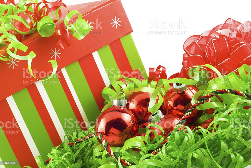 Holiday Box with Colorful Decorations royalty-free stock photo