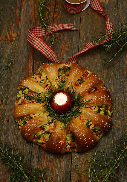 Holiday Bread Wreath stock photo