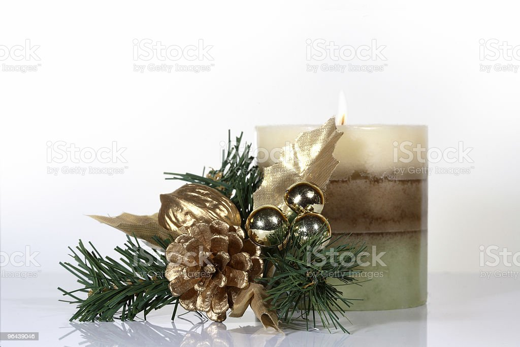 Holiday Candle and Holly - Royalty-free Advent Stockfoto