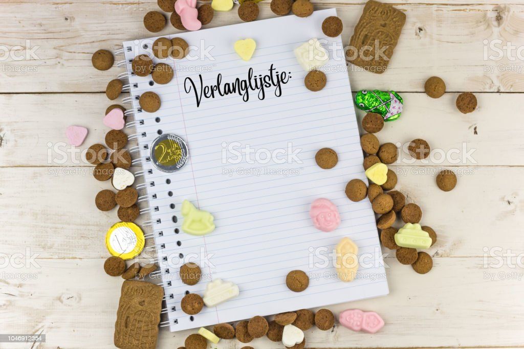 Candy and notepad with the dutch word for wish list for traditional...