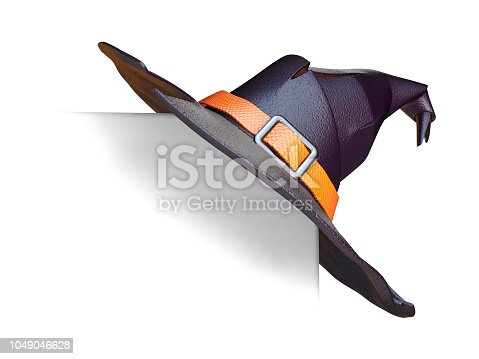istock Holiday card with witch hat on corner 3D 1049046628