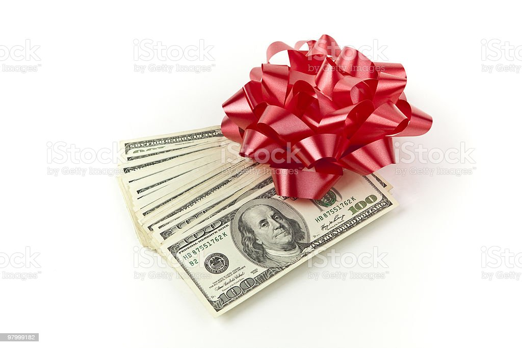 holiday cash red bow royalty-free stock photo