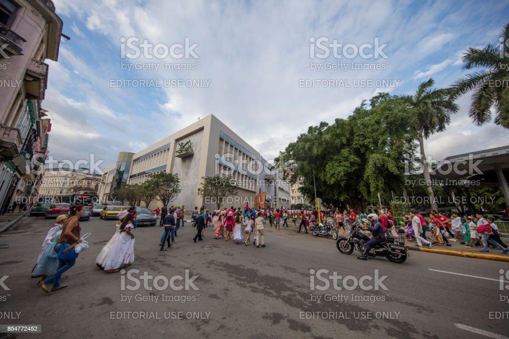 Holiday Celebration at the  Street of havana, cuba stock photo