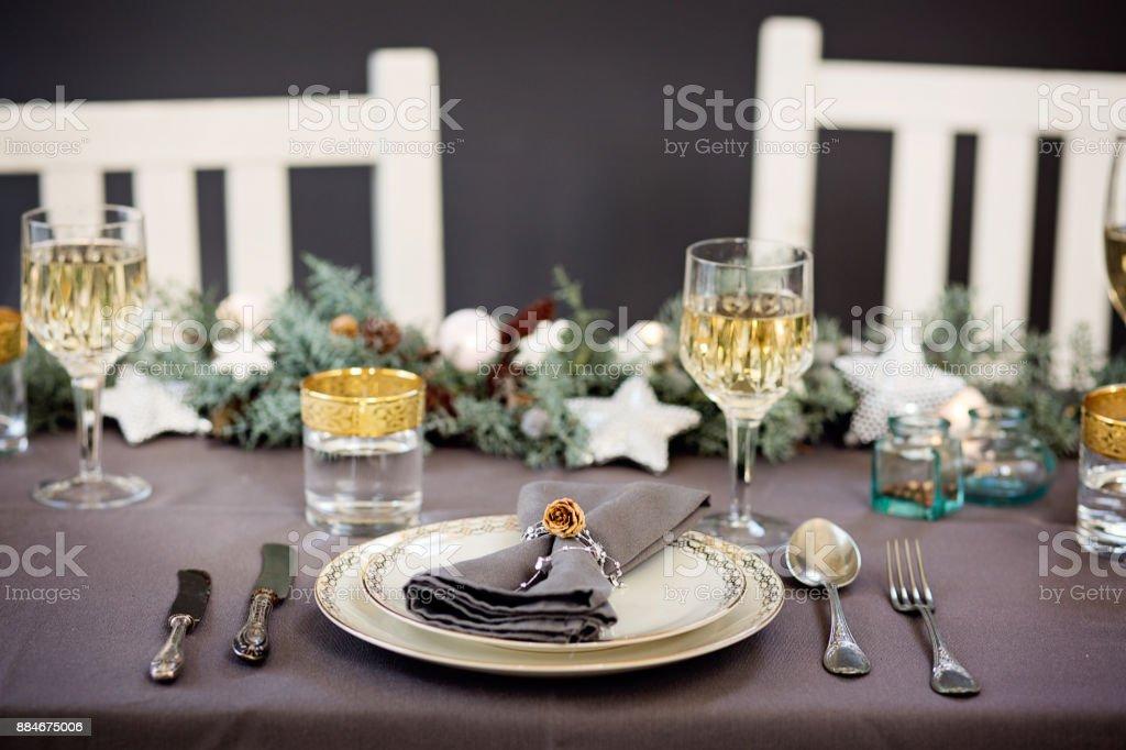 Urlaub Feier Tischdekoration Blau Und Silber Weihnachten