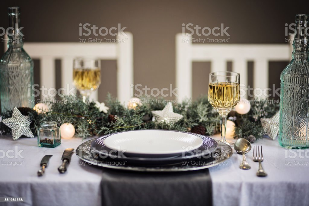Silver And White Table Decorations  from media.istockphoto.com