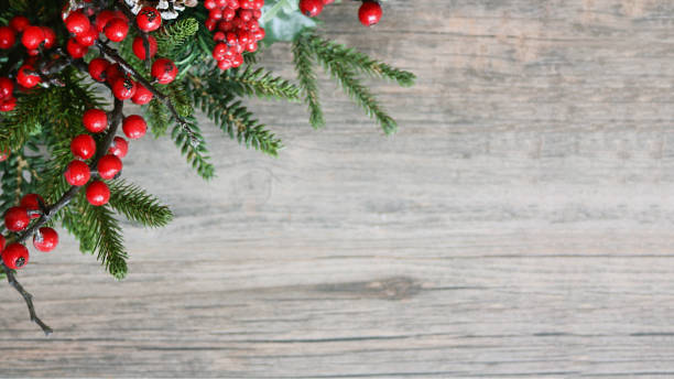 Holiday Christmas Evergreen Branches and Berries in Corner Over Wood stock photo