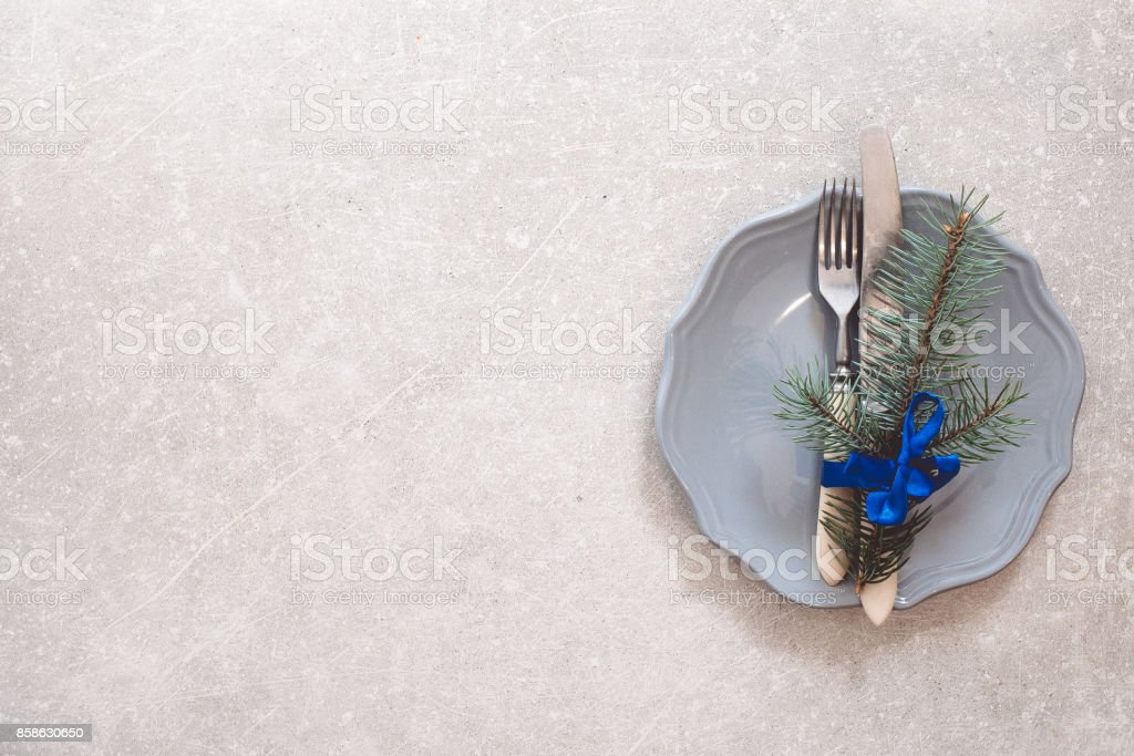 Holiday Christmas food background, cutlery, plate and Christmas tree...